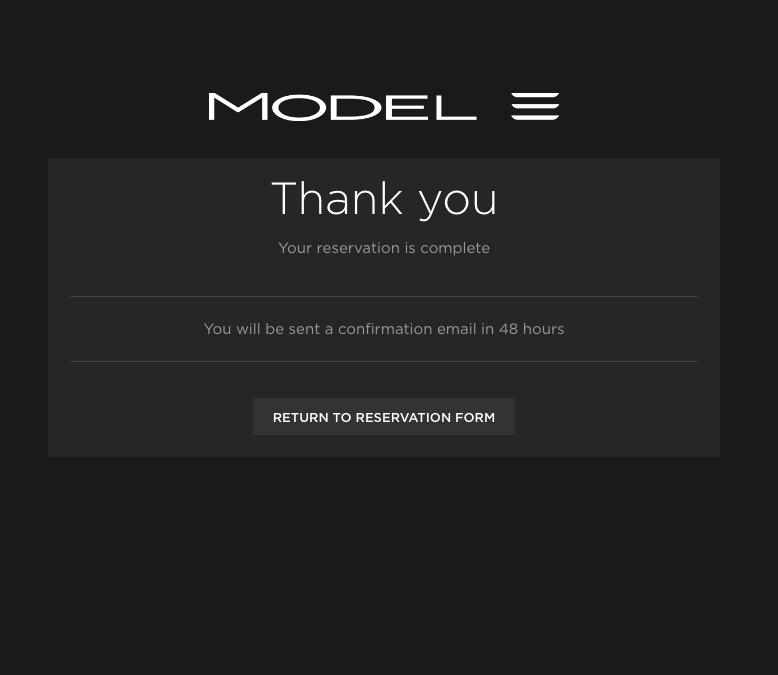 Model 3 reservation form
