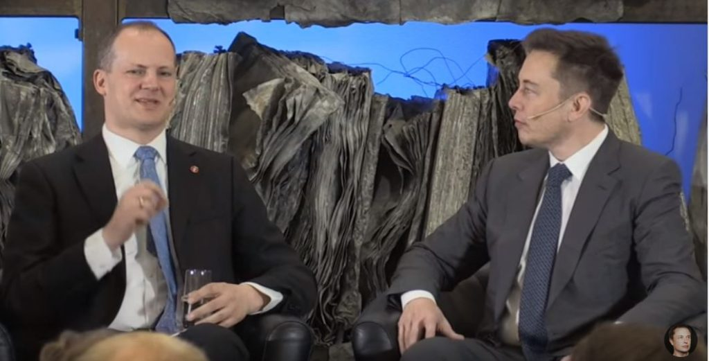 Elon Musk with Norwegian transportation minister