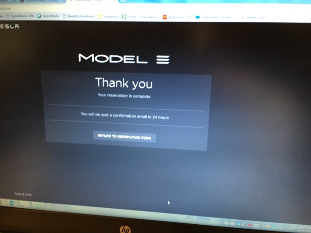 Model 3 reservation confirmation screen