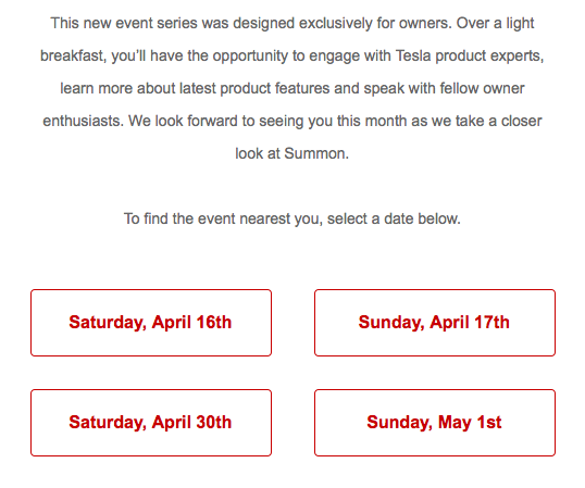 Tesla Weekend Social Event Dates