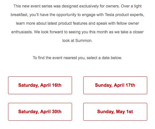 Tesla Weekend Social Event Dates