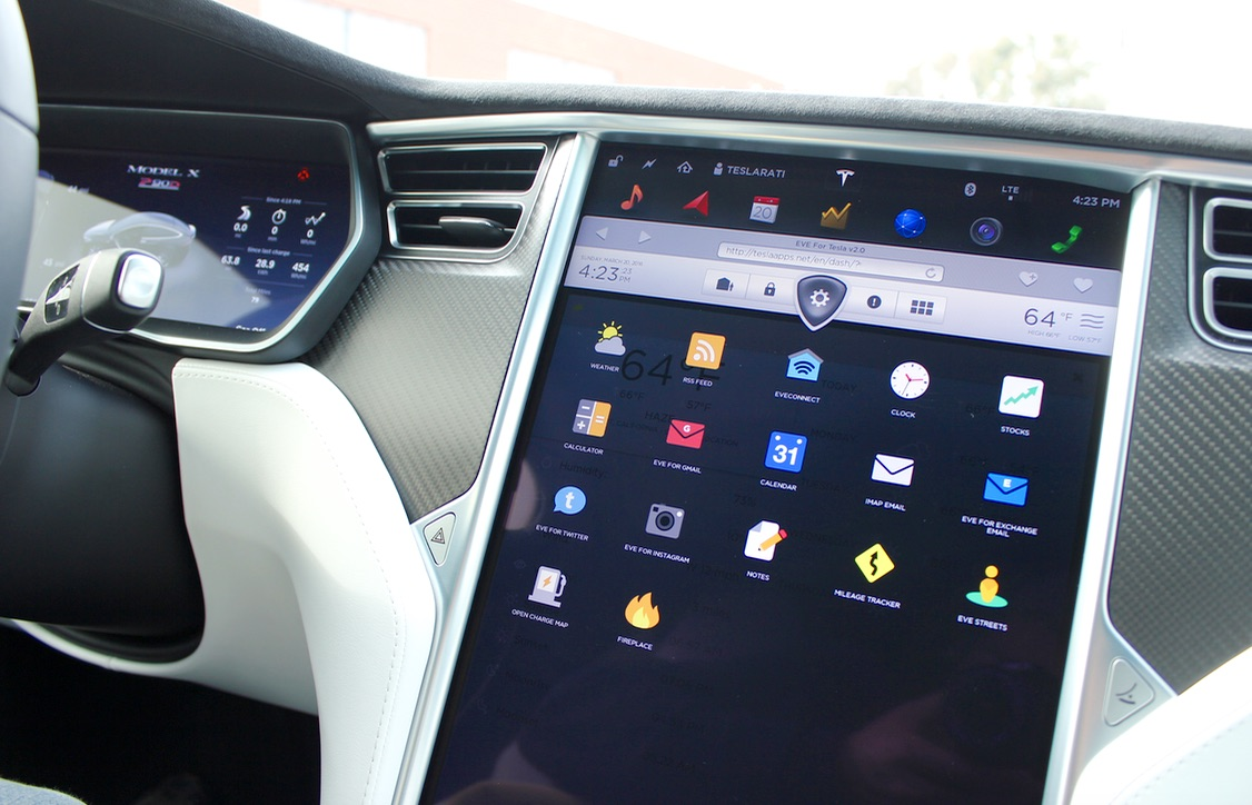 """Suite of """"apps"""" found within EVE for Tesla"""