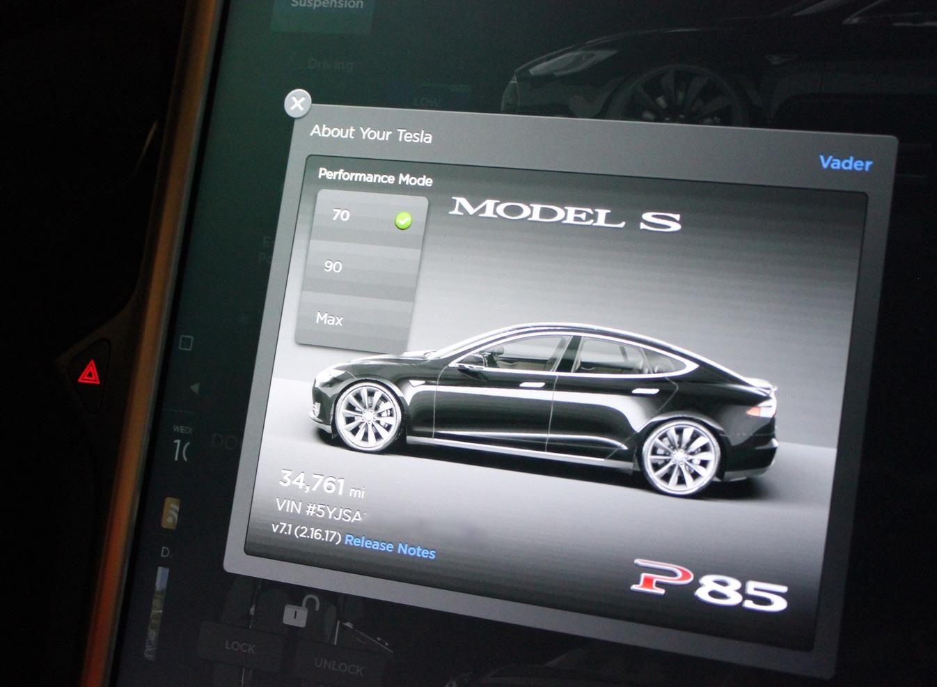 Tesla Model S P85 Performance Mode Easter Egg