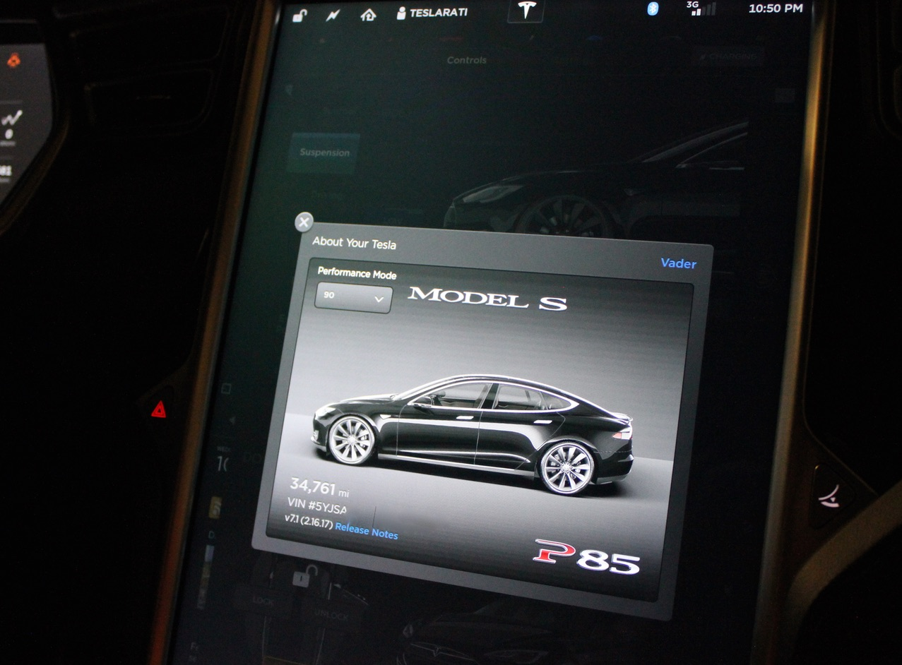 Tesla Model S P85 Performance Mode Easter Egg