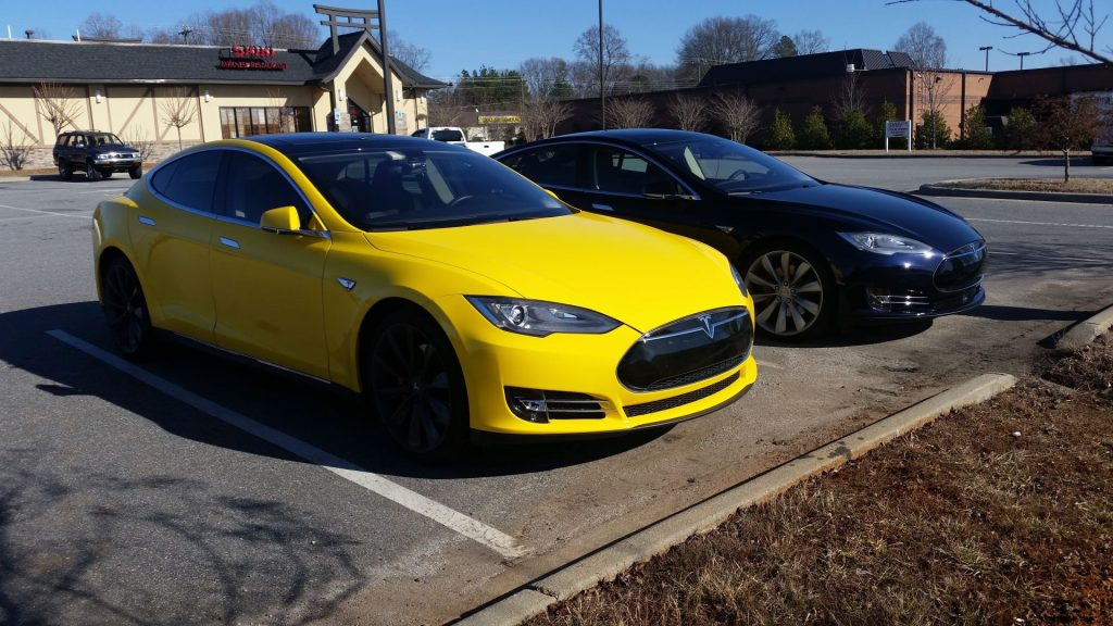 Wrapped Glossy Yellow Model S P85 [Source: Jason Hughes]