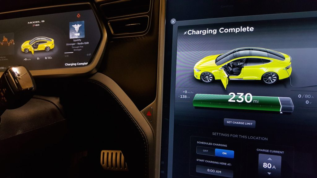 Yellow-Tesla-Model-S-Center-Touchscreen-Display