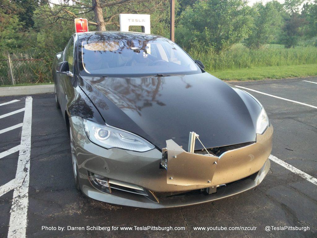 Tesla Model S mule with Autopilot 2.0 sensors