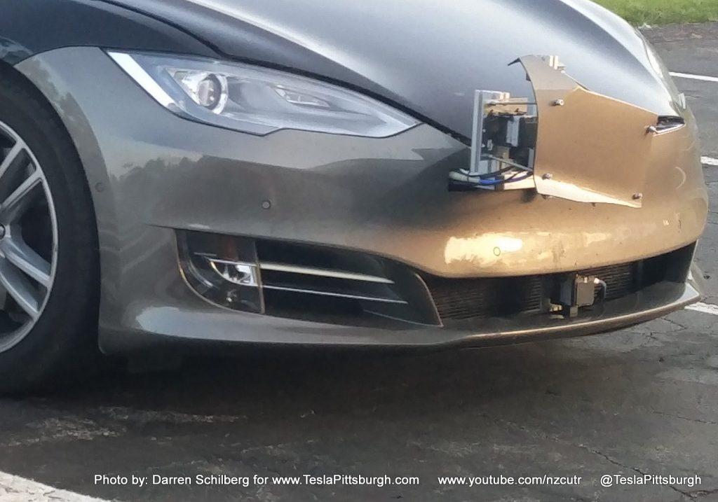 Tesla Model S mule with Autopilot 2.0 on new fascia
