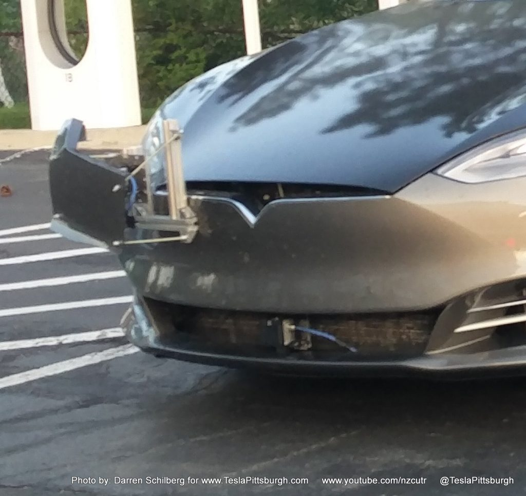 Tesla Model S mule with Autopilot 2.0 on new fascia