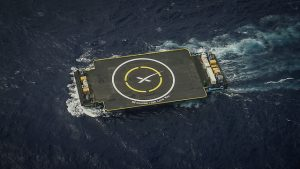 One of SpaceX's drone ships for first stage landing after launch.