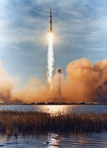 Apollo 8 makes her fiery ascent into space, destination moon.