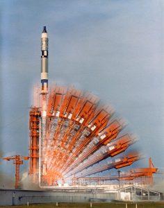 Gemini 10 launches using a modified TItan ICBM motor.