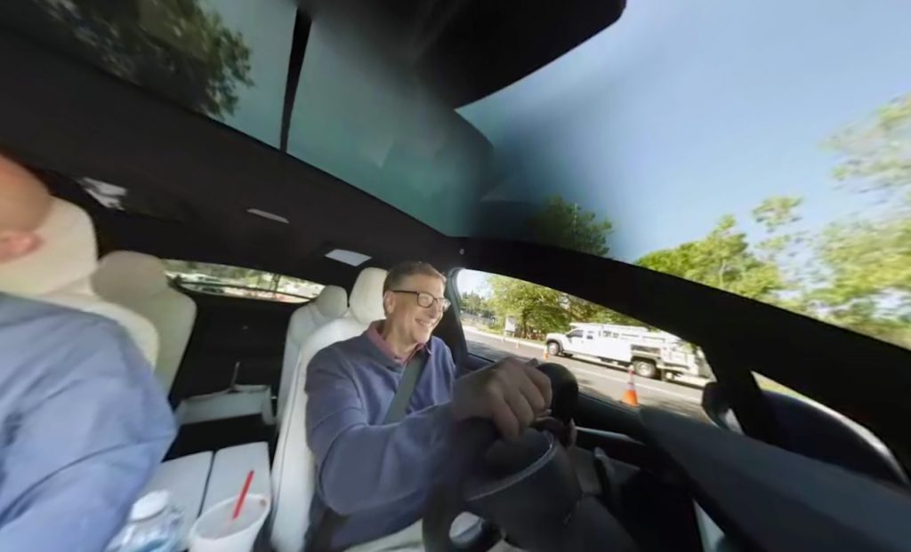 Bill-Gates-driving-blue-Tesla-Model-X
