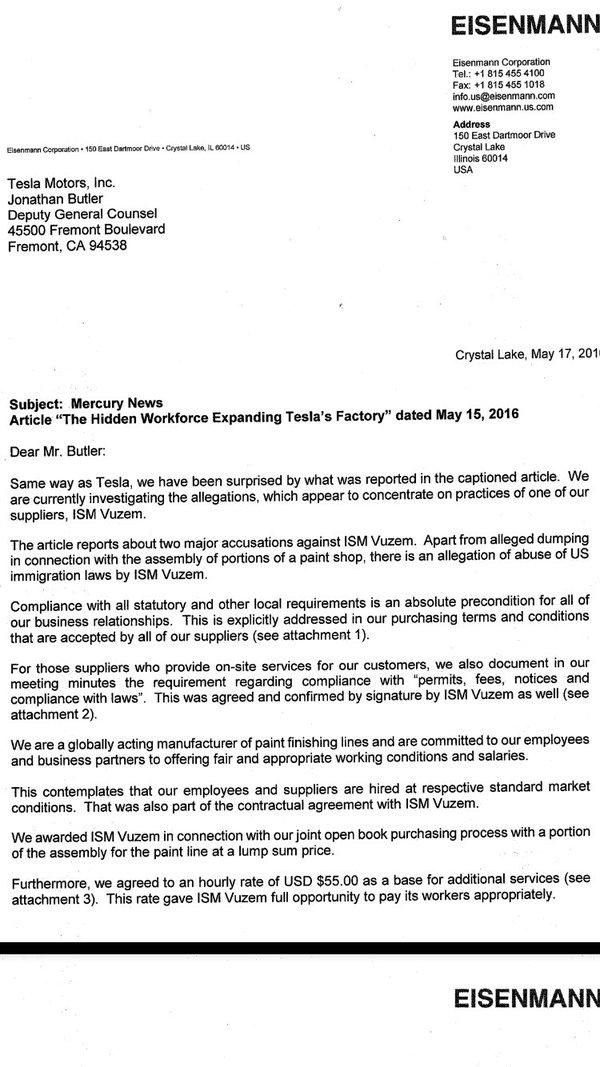 Eisenmann Letter To Tesla