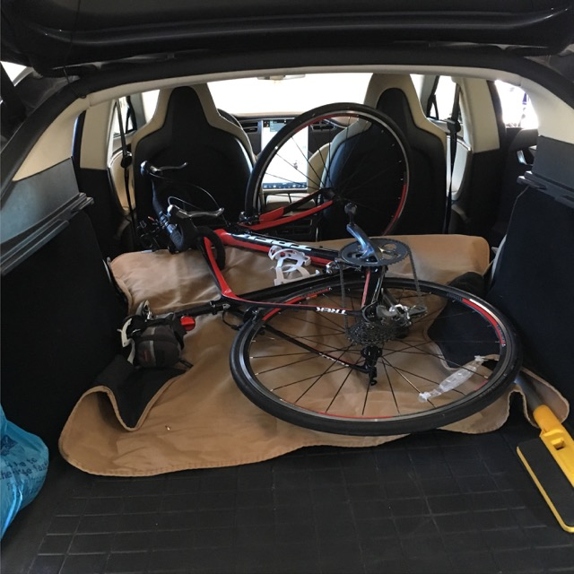 Tesla Model S trunk with full-sized bike