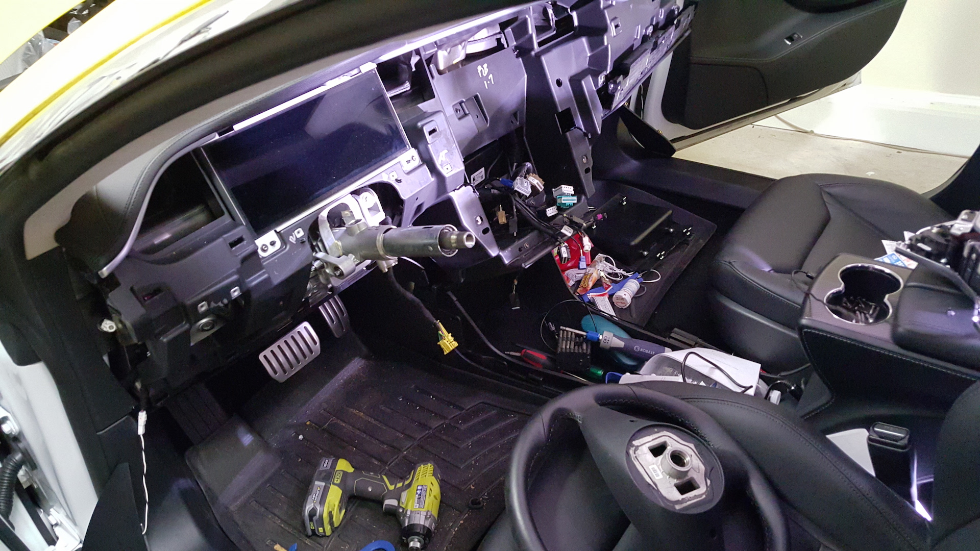 Model S interior being disassembled