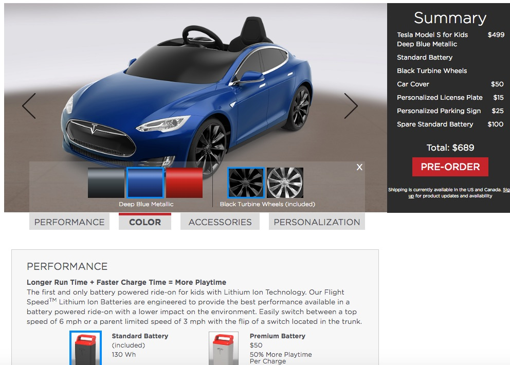 Radio Flyer Tesla Model S for Kids Design Configurator