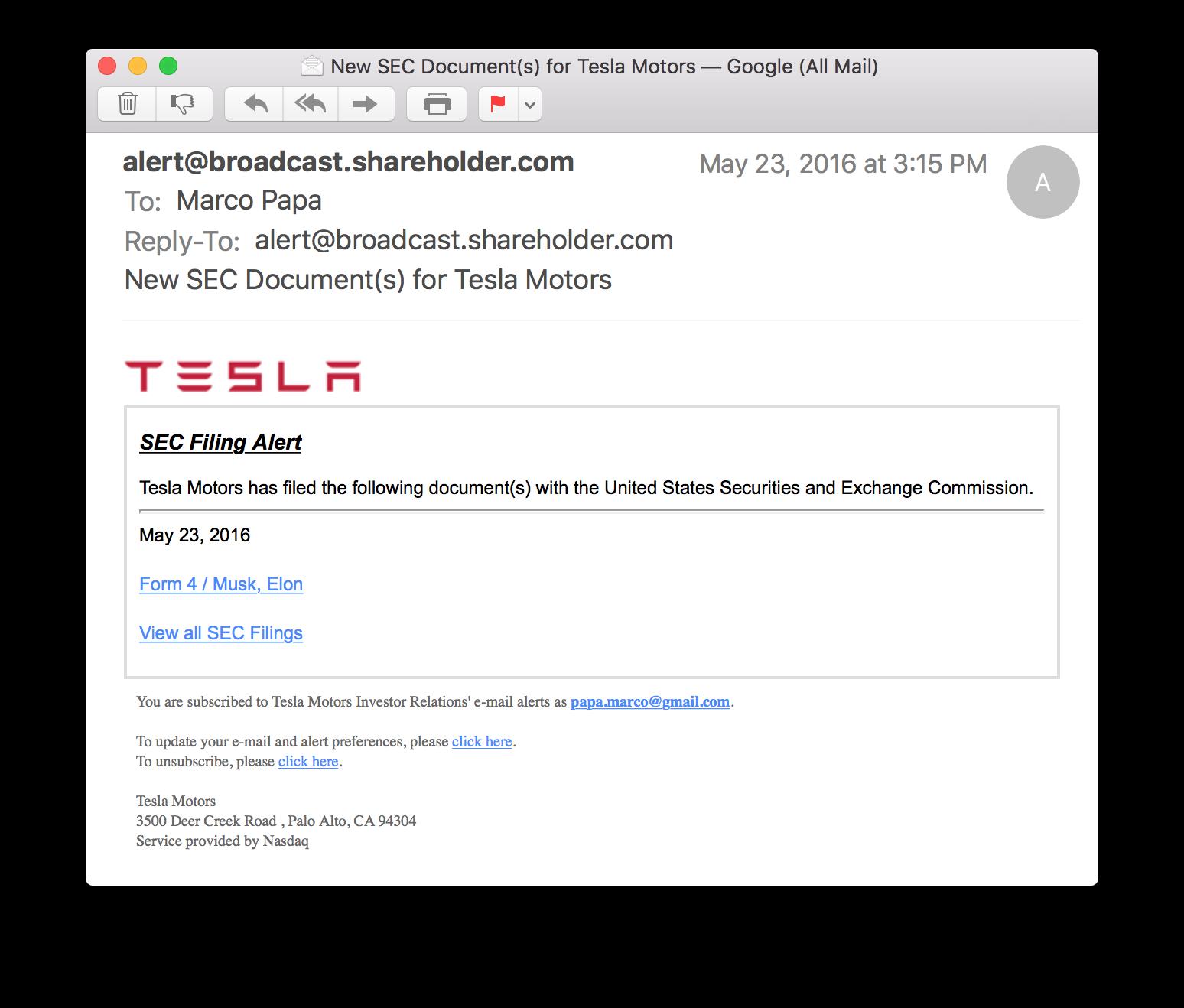 Tesla Alert