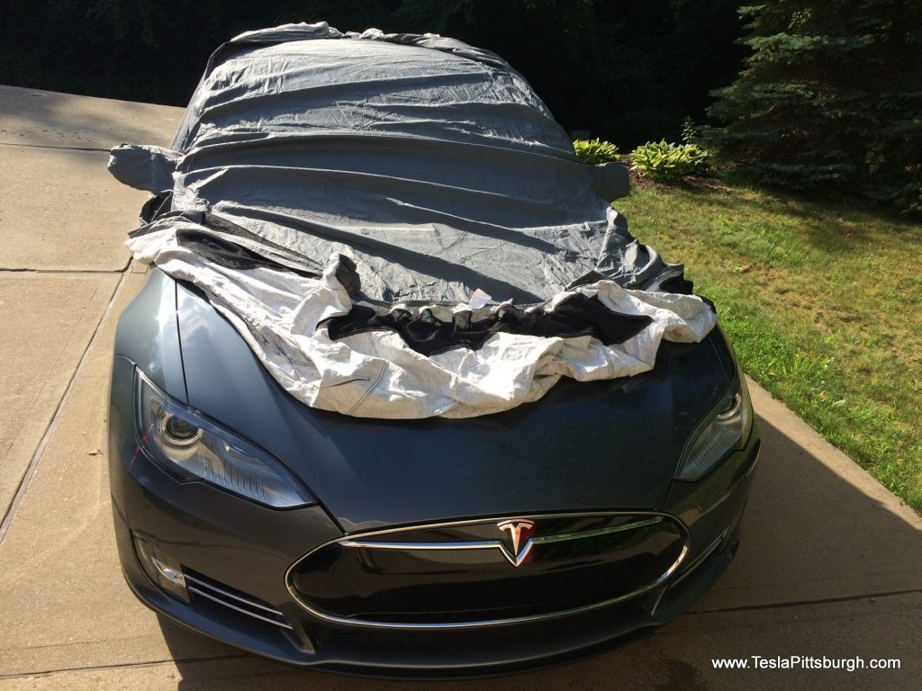 Installing the Model S car cover