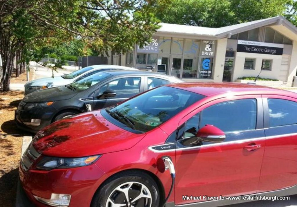 Chevy Volt charging at the Electric Garage