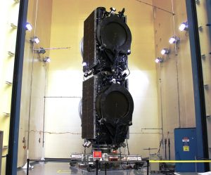 Boeing Eutelsat satellites will be encased on top of the SpaceX Falcon 9 rocket set to launch from Cape Canaveral, FL. on June 15. Credit: Boeing