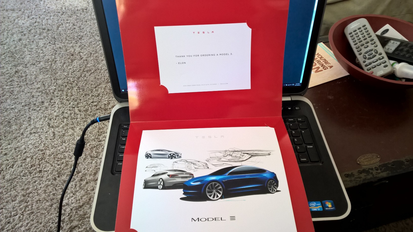 "Model 3 ""token of appreciation"" gift"