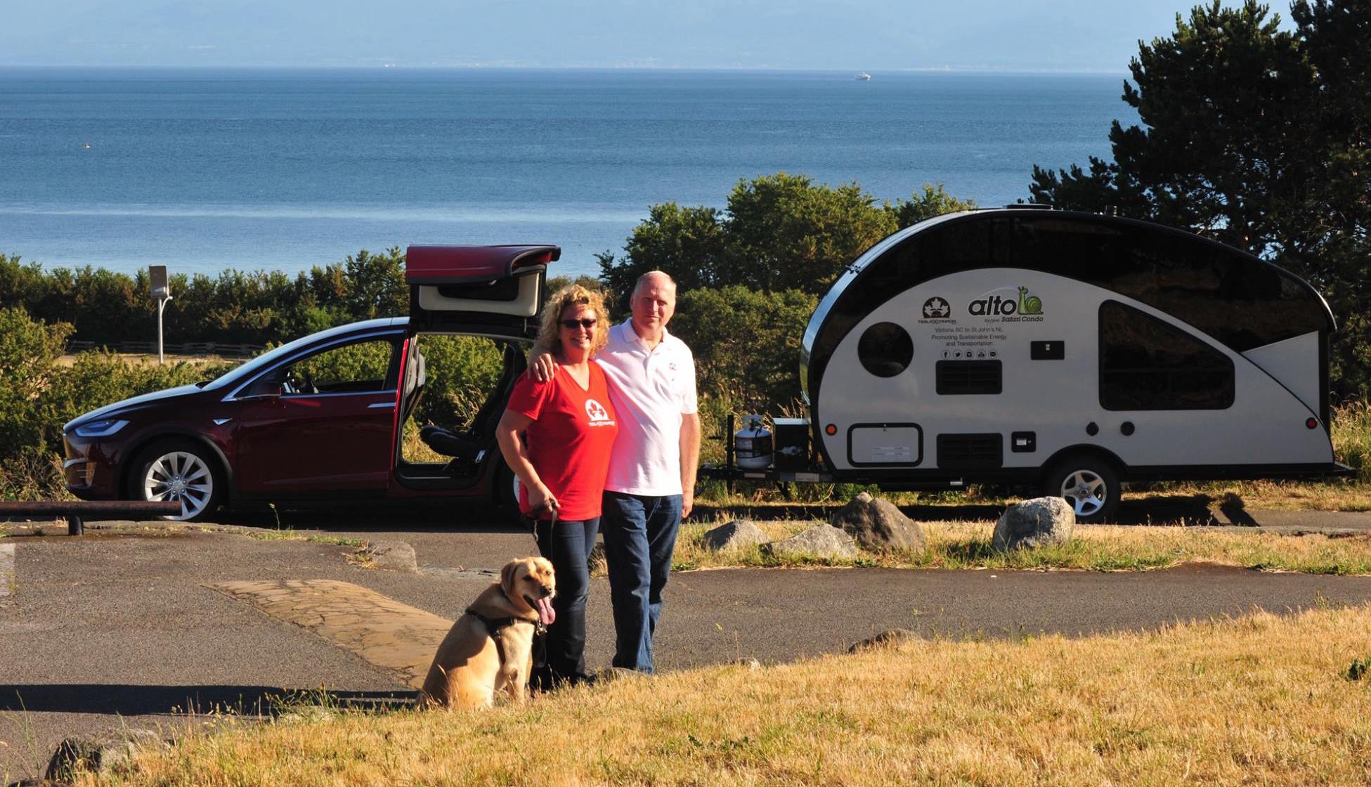 canadian couple to drive across canada in a tesla model x with solar trailer. Black Bedroom Furniture Sets. Home Design Ideas