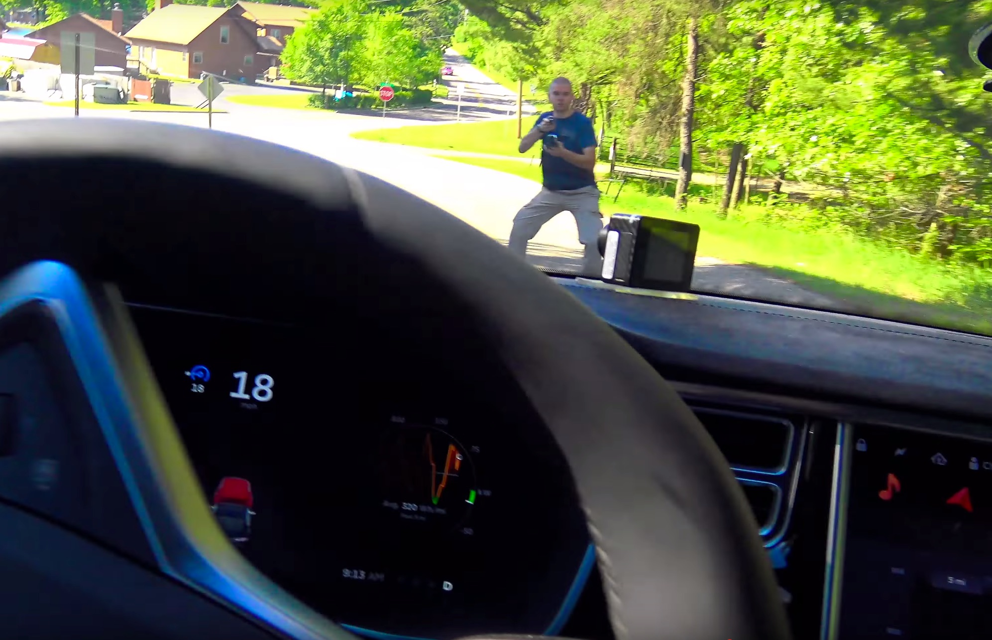 Watch Tesla Fan Puts Himself In Front Of A Moving Model S To Test Autopilot Collision Avoidance Capabilities