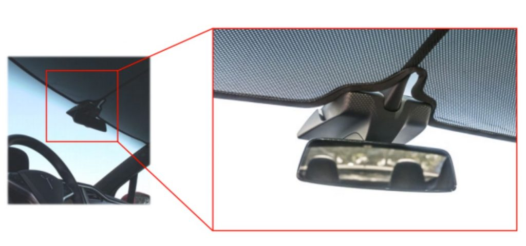 Tesla-Model-X-windshield-sunshade-mirror-mount