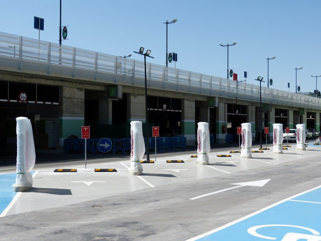 Tesla Supercharger with 6 stalls in Murcia, Spain