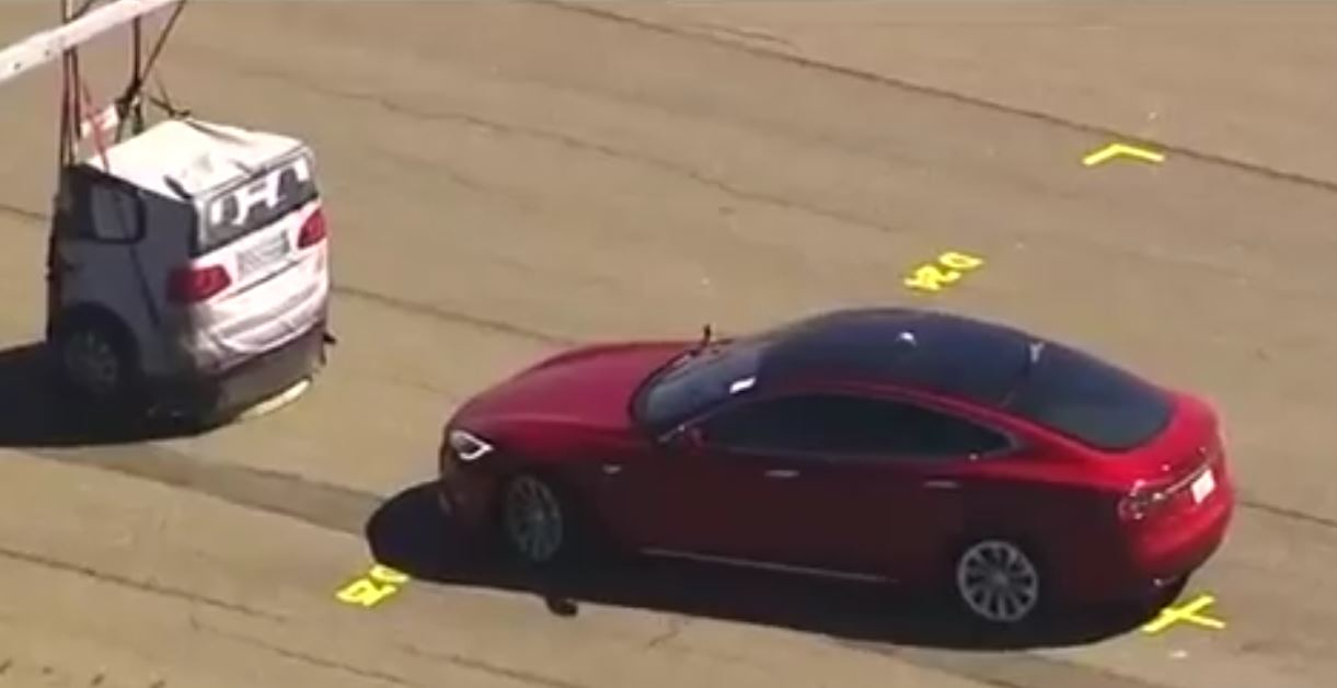 Tesla Model S spied testing braking system against soft target