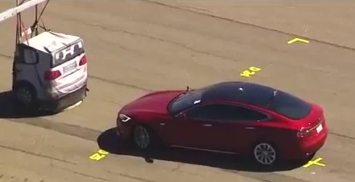Tesla Model S spied testing braking system against soft target