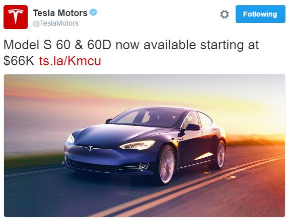 Tesla Model S 60D announced