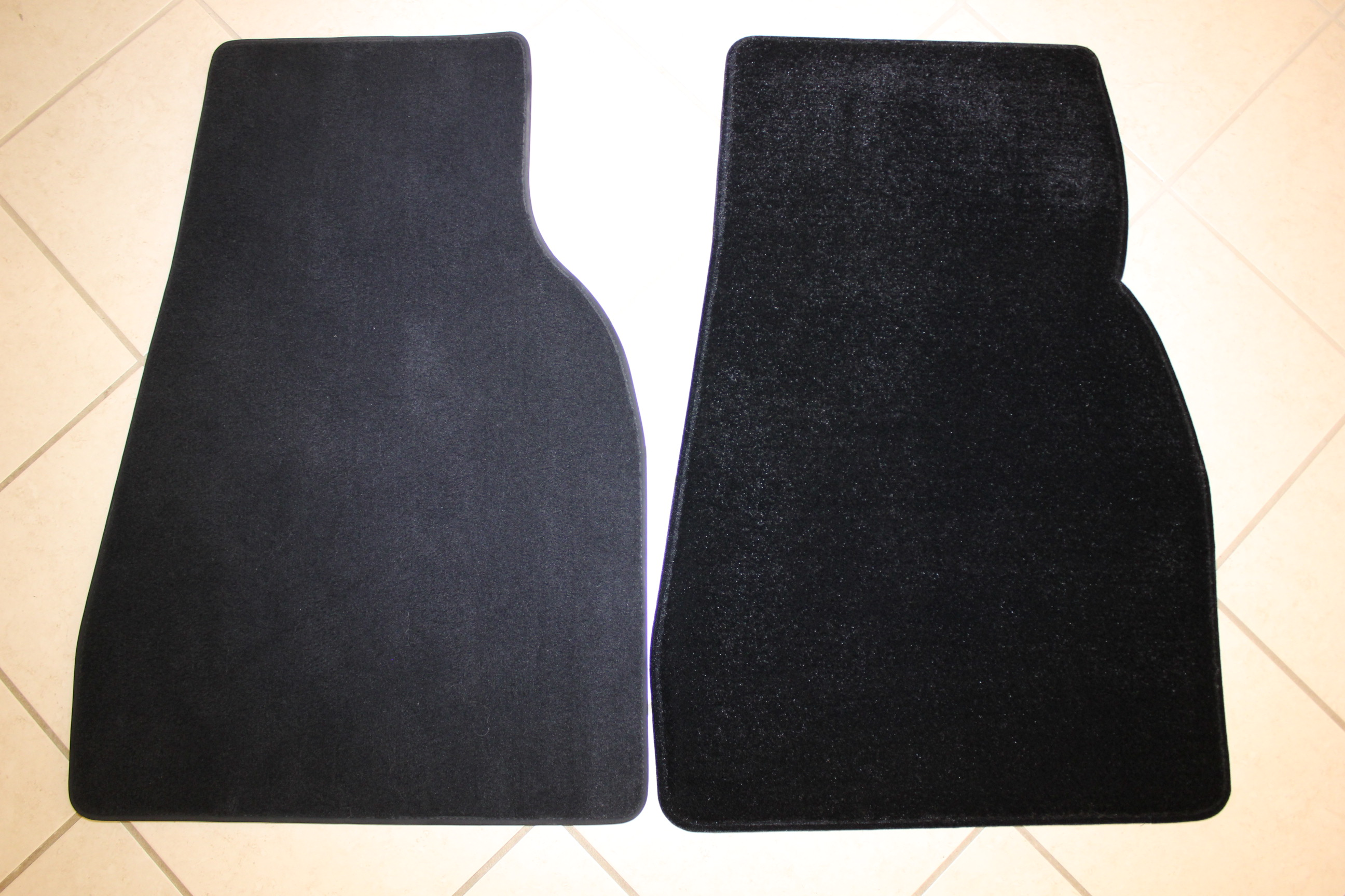 Left to Right – OEM Mats vs LUXE Mats Front passenger Comparison