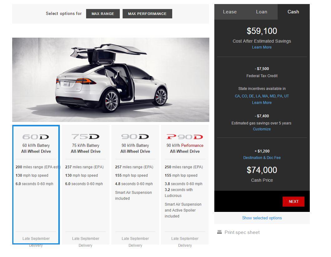 Tesla introduces Model X 60D with 200 mile range