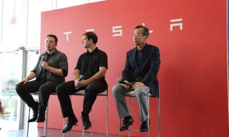 Musk, Straubel, Yamada at Gigafactory