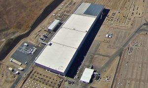 Tesla Gigafactory event prepartions seen in aerial photo