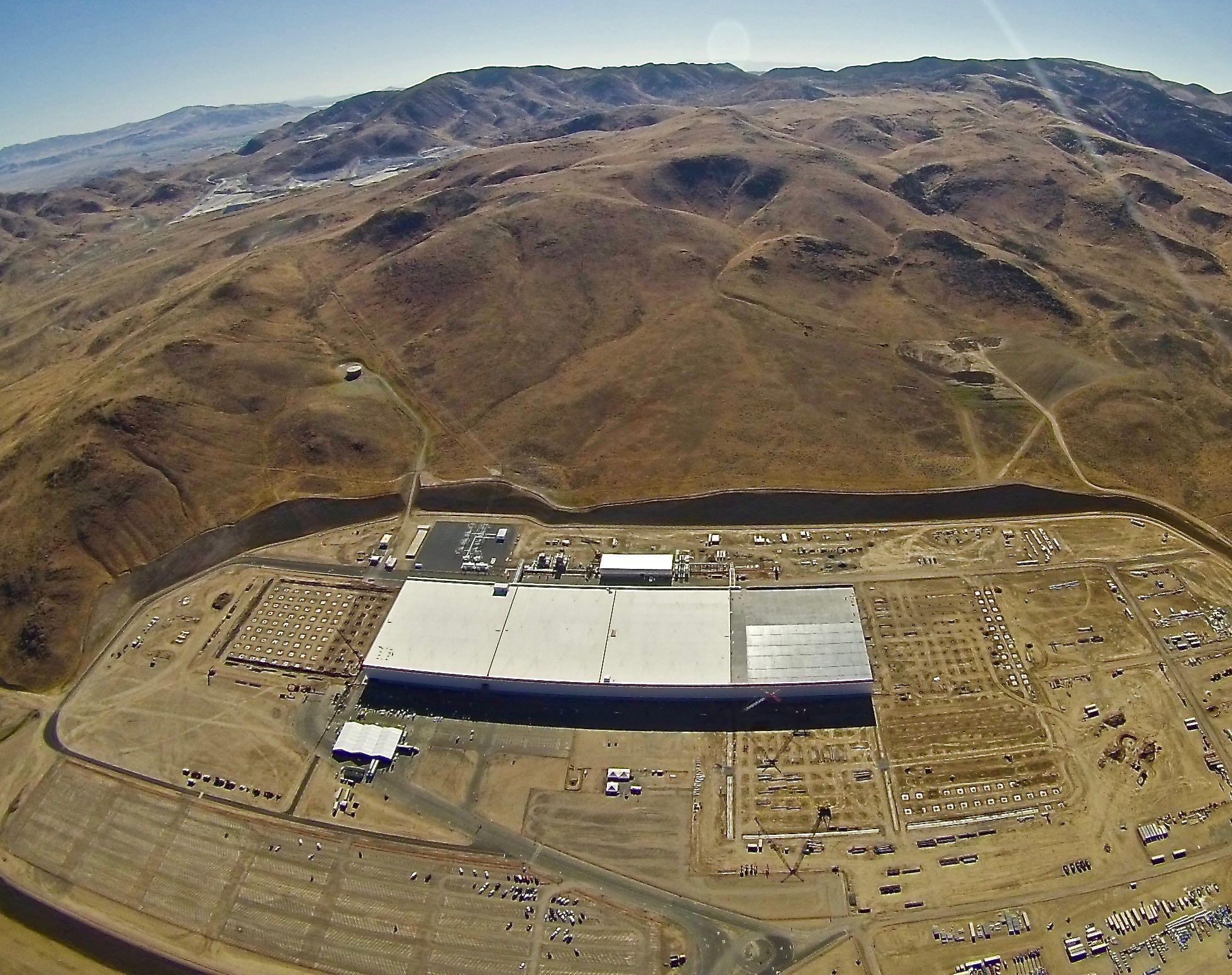 Tesla Gigafactory event prepartions seen in aerial photo taken July 24, 2016