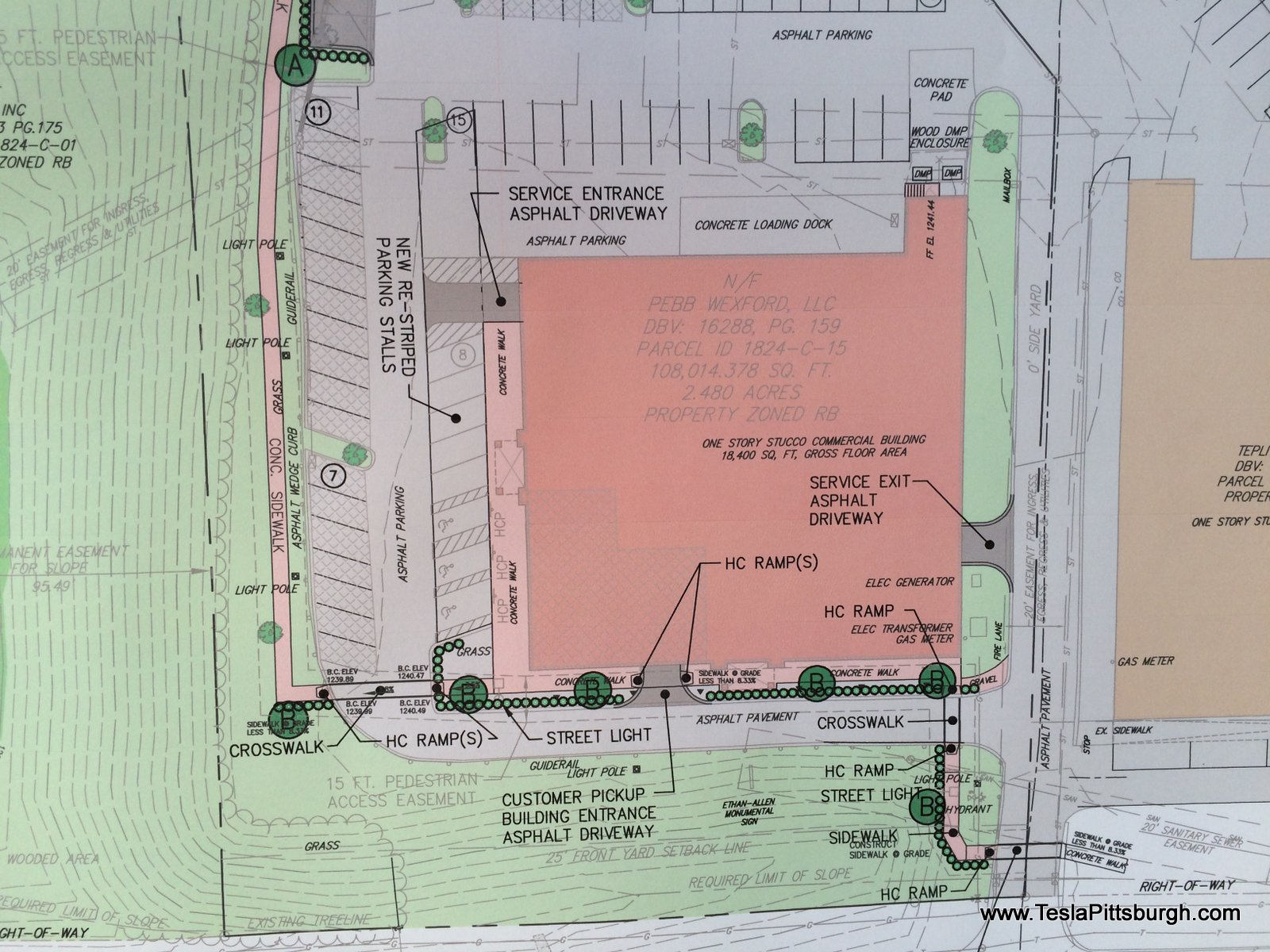 full color building site plan for tesla pittsburgh service center