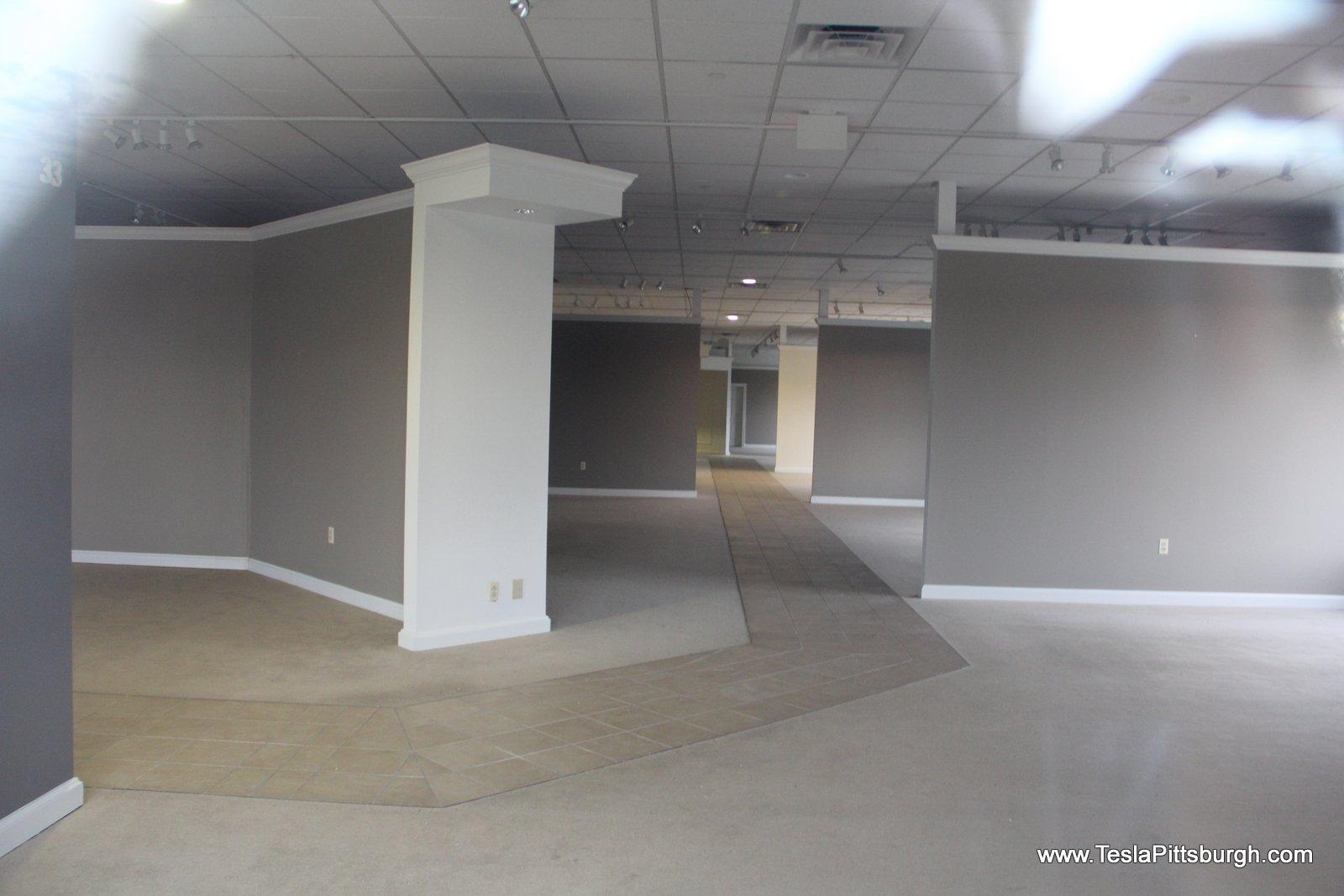 interior of unrenovated pittsburgh tesla service center 2