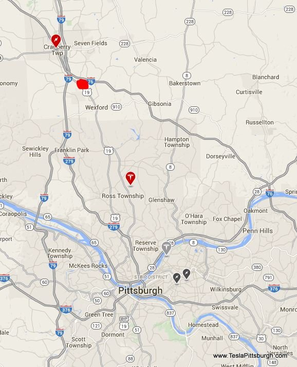 Map of Tesla Pittsburgh locations