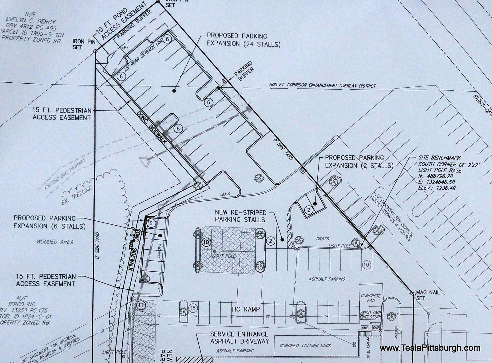 pittsburgh tesla parking lot extension