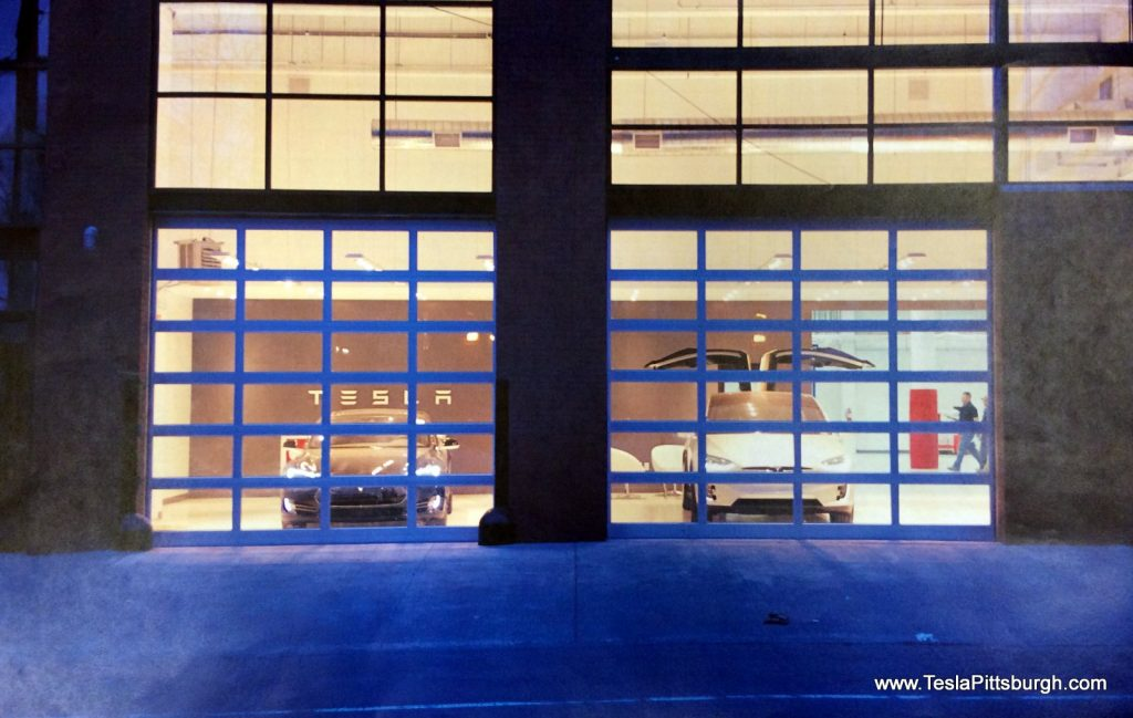 pittsburgh tesla service bay door proposal exterior