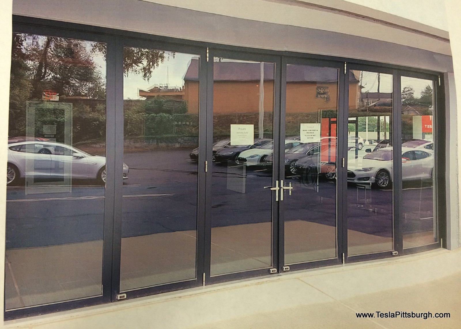 pittsburgh tesla service center door proposal exterior