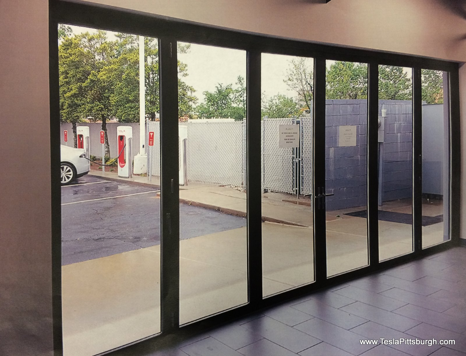 pittsburgh tesla service center door proposal interior