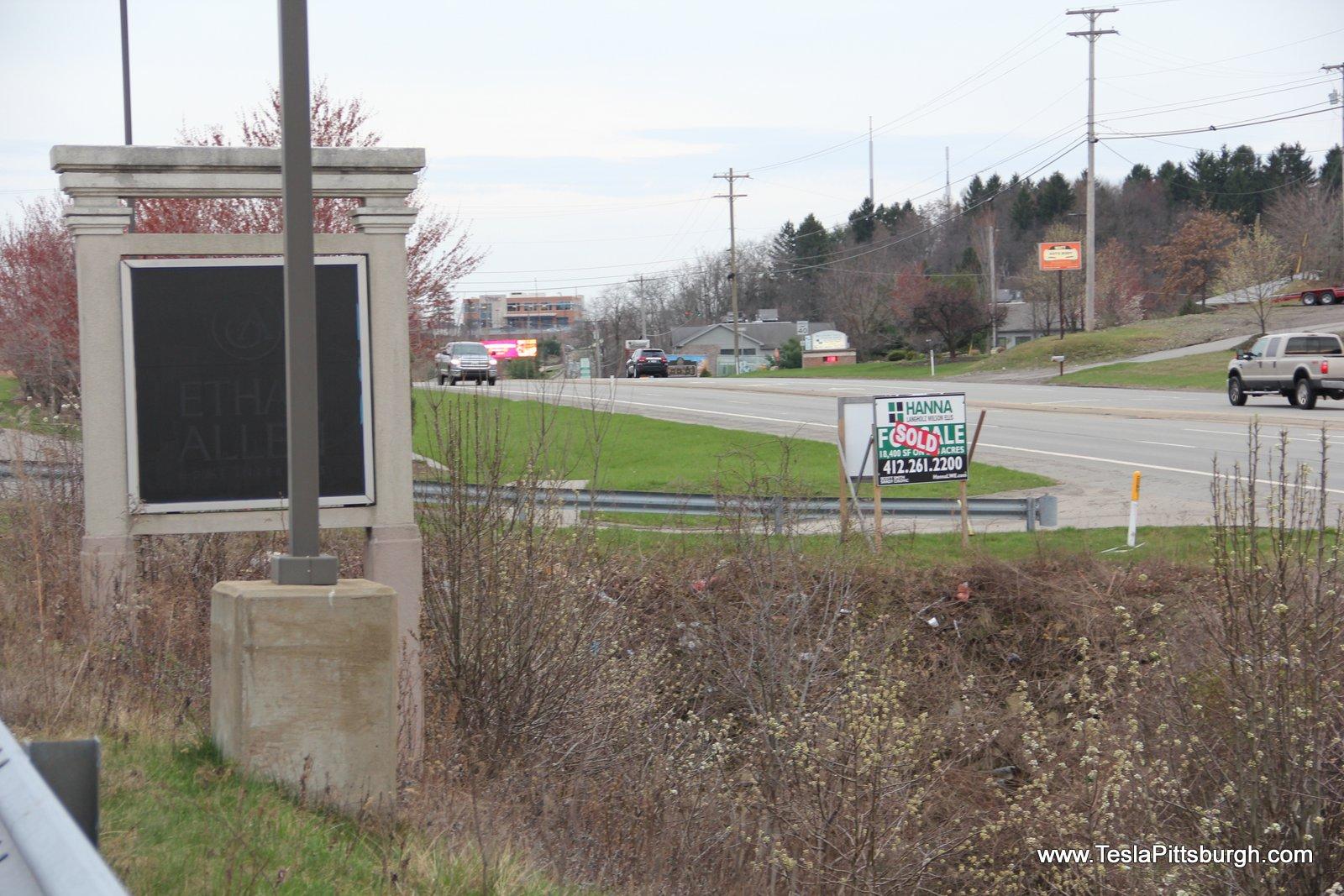 pittsburgh tesla service center entrance sign