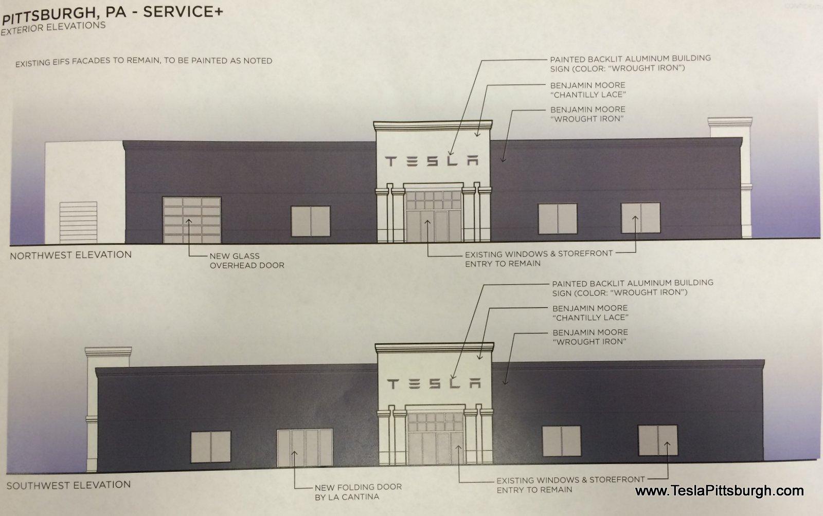 pittsburgh tesla service center facade colors
