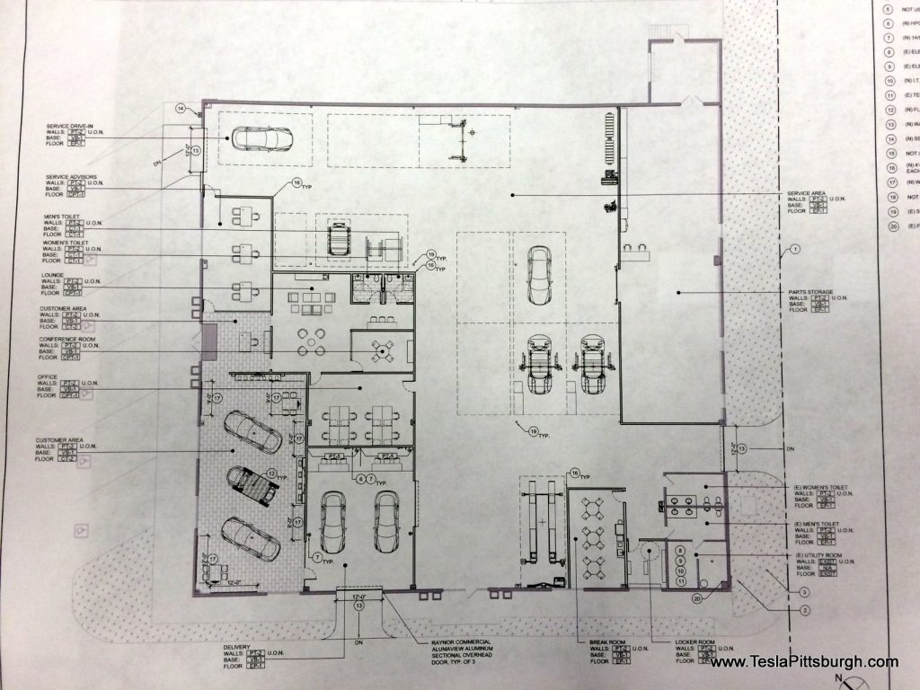 pittsburgh tesla service center interior plan