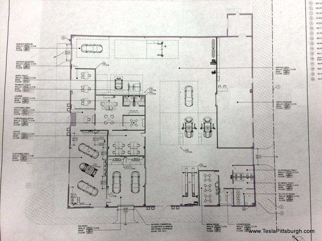 pittsburgh tesla service center interior plan