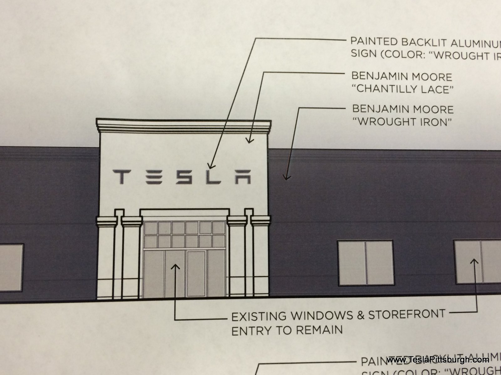 pittsburgh tesla service center proposed facade closeup